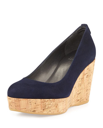 Logoyork Suede Wedge Pump, Nice Blue