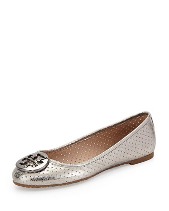 Reva Metallic Perforated Flat, Pewter