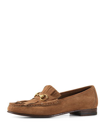 Suede Fringe Horsebit Loafer, Tan