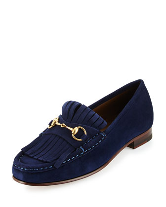 Fringed Suede Horsebit Loafer, Navy