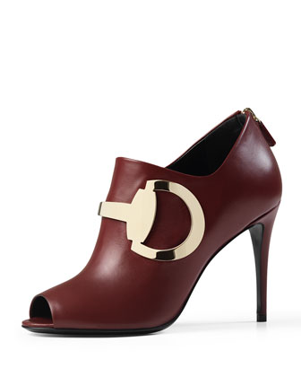 Leather Horsebit Peep-Toe Bootie, Burgundy