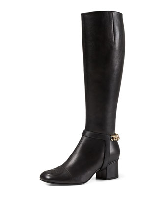 Ankle-Chain Leather Knee Boot