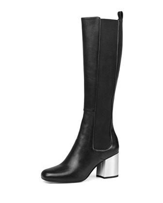 Mirror-Heel Leather Knee Boot, Black (Nero)