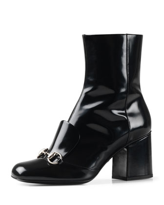 Chunky-Heel Horsebit Boot, Black (Nero)