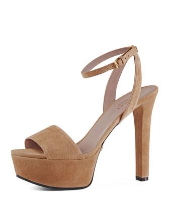 Suede Platform Ankle-Wrap Sandal, Camellia