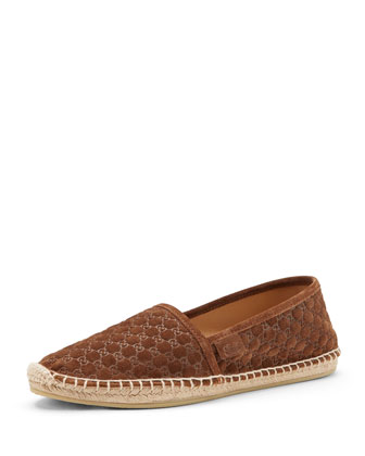GG Logo-Embossed Espadrille, Dusty Phard
