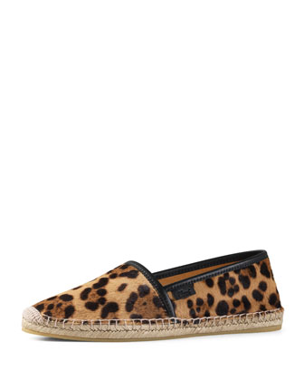 Leopard-Print Calf-Hair Espadrille, Gold/Black