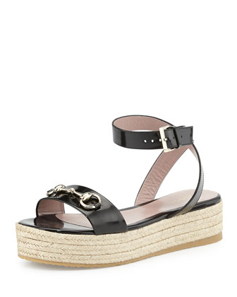 Leather Horsebit Espadrille Sandal, Black