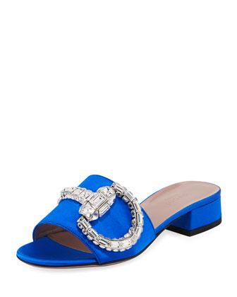 Crystal Horsebit Sandal Slide, Deep Sapphire (Zaffiro)