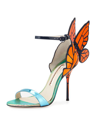 Chiara Butterfly Wing Sandal, Blue/Orange