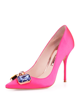 Lola Gem Satin Pump, Hot Pink