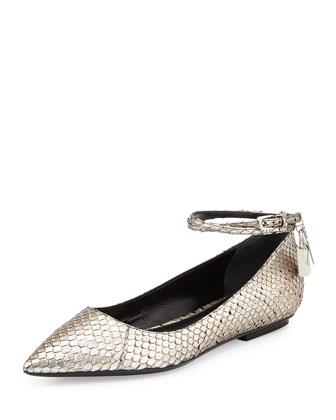 Anaconda Ankle-Wrap Padlock Flat, Antique Silver
