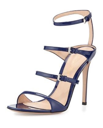 Ladder Strap Patent Sandal, Imperial Blue