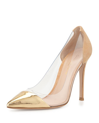 Metallic Cap-Toe Illusion Pump, Gold/Tan