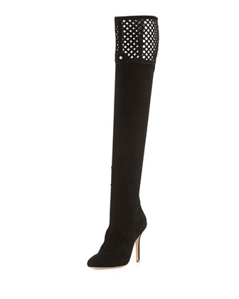 Adrianna Suede Over-the-Knee Boot, Black