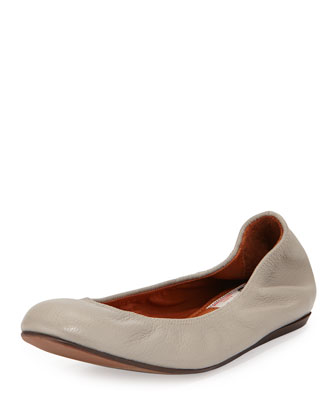Scrunched Leather Ballerina Flat, Light Gray