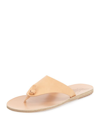 Igia Leather Thong Sandal, Nude