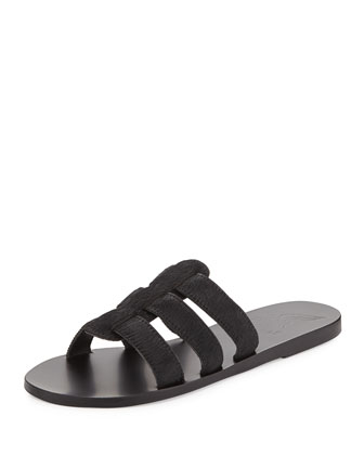 Kavvadia Calf-Hair Sandal Slide, Black