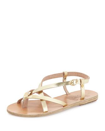 Semele Strappy Flat Sandal, Gold