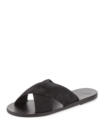 Thais Calf-Hair Sandal Slide, Black