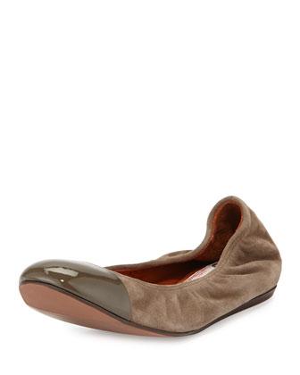 Suede Cap-Toe Ballerina Flat, Taupe