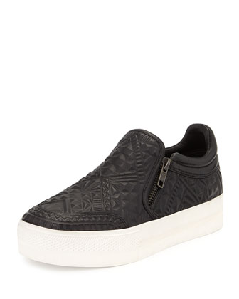 Textured Leather Skate Sneaker, Black