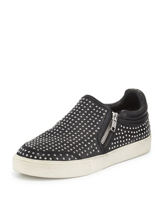 Iman Studded Napa Sneaker, Black