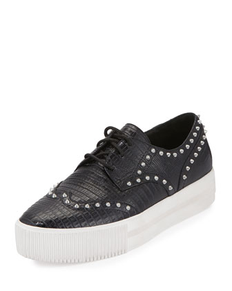 Krush Studded Leather Sneaker, Black