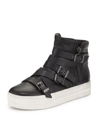 Jet Leather High-Top Sneaker, Black