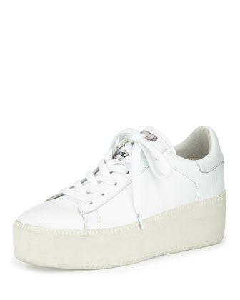 Cult Platform Leather Sneaker, White