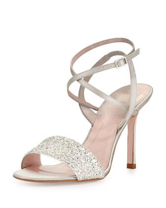 ismar glitter satin sandal, silver