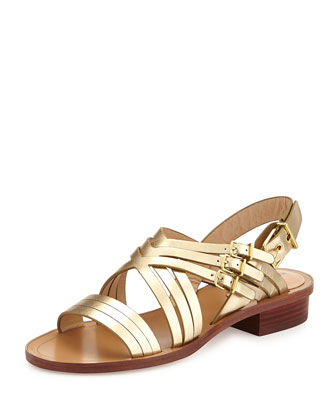 Metallic Leather Crisscross Sandal, Pewter