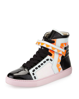 Riko High-Top Glitter Sneaker, Pink