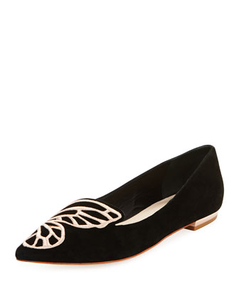 Papillon Embroidered Suede Flat, Black/Rose Gold