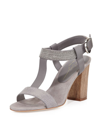 Crisscross T-Strap Leather Sandal, Gray