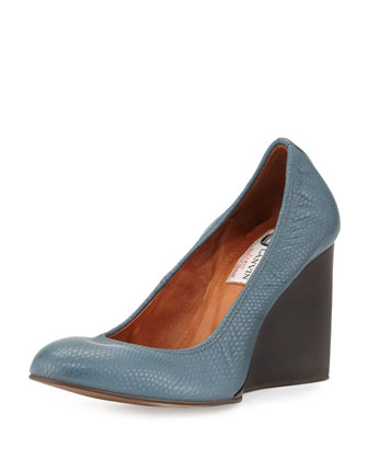 Lizard-Embossed Wedge Pump, Ice Blue
