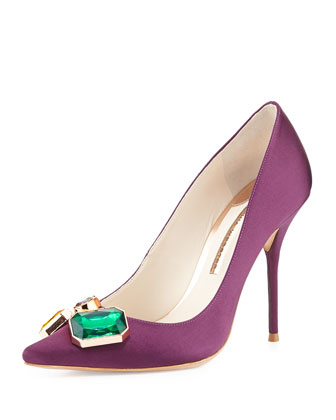 Lola Gem Satin Pump, Aubergine