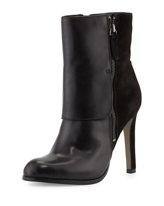 Tonia Leather Mid-Calf Boot, Black