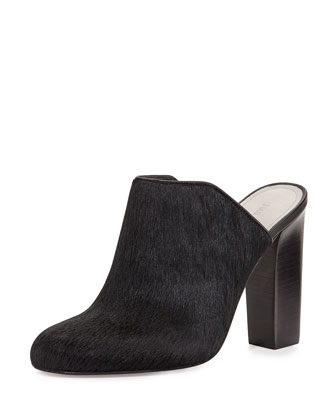 Calf Hair Mule Slide, Black