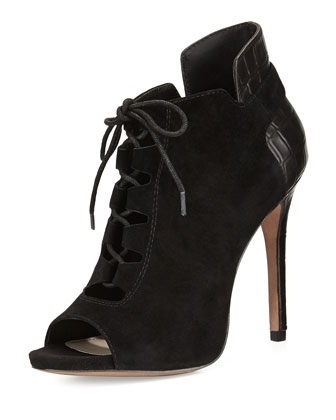 Vione Bicolor Lace-Up Bootie, Black