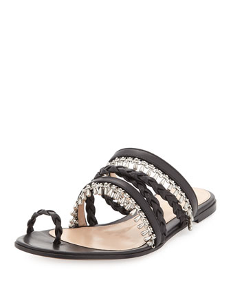 Beaded Leather Toe-Ring Sandal, Black