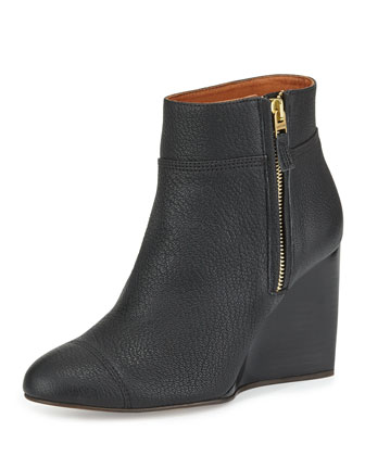 Pebbled Leather Wedge Bootie, Black