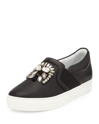 Crystal-Embellished Skate Sneaker, Black