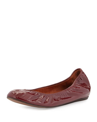 Patent Leather Ballet Flat, Raisin