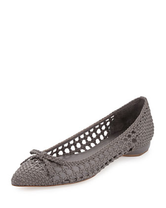 Shana Woven Leather Flat, Fog