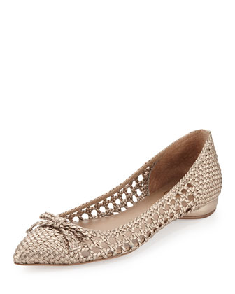 Shana Woven Leather Flat, Platino