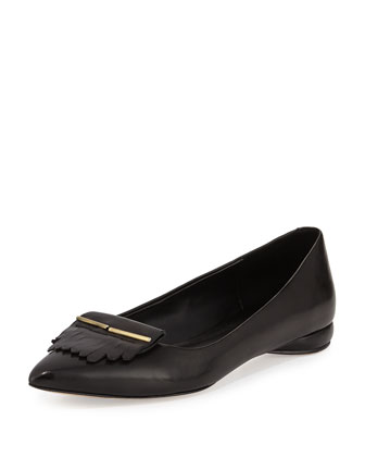 Sade Leather Kiltie Flat, Black