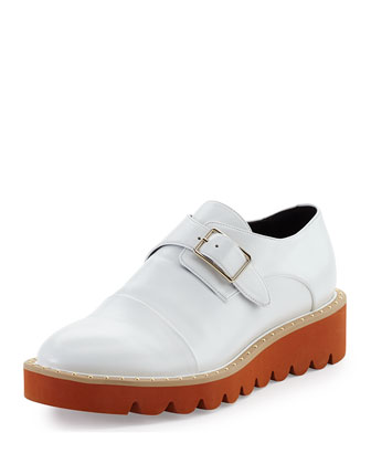 Monk Strap Faux-Leather Creeper, Taupe