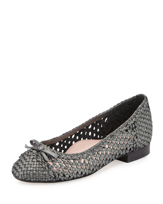 Bobo Woven Leather Flat, Anthracite