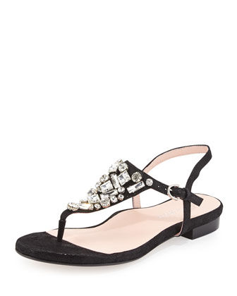 Ibsen Jeweled Thong Sandal, Black